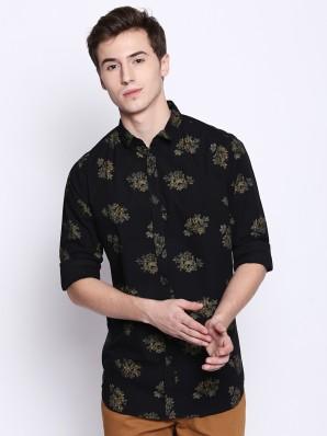 Indian Handicrfats Export Black Printed Regular Fit Cotton Mens T-Shirt