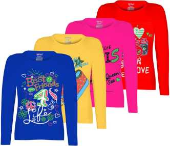 7e2e68852f5 Trending. Kiddeo. FabTag - Kiddeo Girls Printed Cotton Blend T Shirt.  Multicolor
