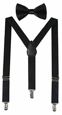 USA Dark Brown Suspender and Bow Tie Set for Adults Men Women Teenagers