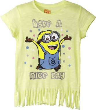 aejays Boys Minion Print Shirt Girls Kids Minion Cartoon Character Printed Shirt Vest Plain Printed Summer Top Size