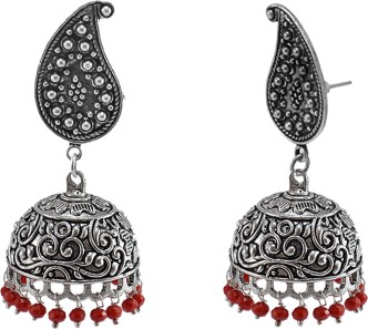 Silvesto India Charming Red Crystal Facetes Beads Jhumka Jewelry-Handmade Ethnic Earrings PG-103680