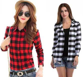 cfa622acf64bb Women Checkered Shirts - Buy Women Checkered Shirts online at Best Prices  in India