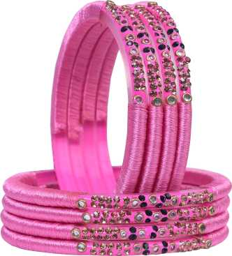 23 Pink and Green Aluminium Indian Bangles