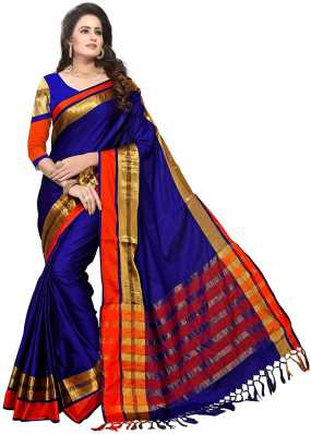 Cotton Sarees Online Shopping Pure Plain Printed Fancy Cotton
