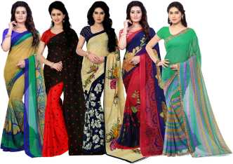 ea87a67ba00 Anand Sarees. Floral Print Daily Wear Georgette Saree