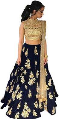 Women's Clothing United Indian Ethnic Fancy Party Wear Blue Silk Print Unstitch Dress Gown Lehenga Choli Last Style