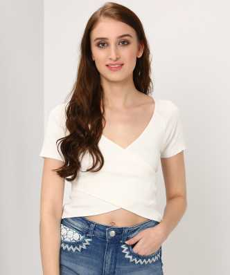 702d2d254591 Forever 21. Casual Short Sleeve Self Design Women White Top