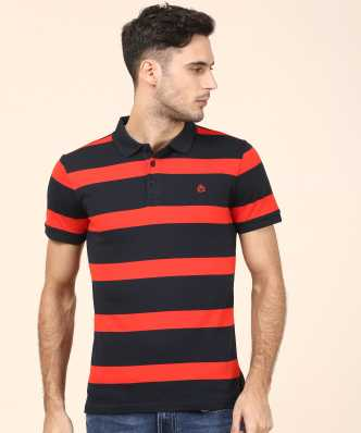 d26cb244 2. United Colors of Benetton. Striped Men Polo Neck Red, Dark Blue ...