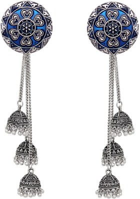 Subharpit Turquoise Pearl Oxidized Silver Metal Indian Jhumka Jhumki Earring for Woman /& Girls