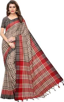 bf366b5d484 Ruchika Fashion. Checkered Handloom Handloom Cotton Linen Blend Saree
