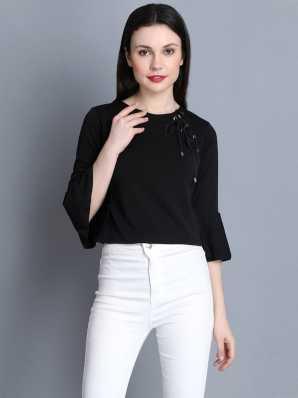 c18aee0b0a4f80 Casual Cuffed Sleeve Solid Women Black Top · ₹399. ₹999. 60% off.  BuyNewTrend