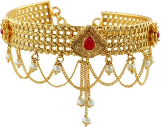 Anuradha Art Gold Finish Round Shape Studded Stone Traditional Bajuband//Armlet For Women//Girls
