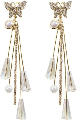 Color Lane Ethnic German Silver Jhumki Drop Earrings Gold Tone Floral