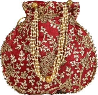 Women/'s Ethnic Rajasthani Silk Embroidery Party wear Potli bag Combo of 2 Potlis