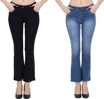 New Womens Flare Bell Bottom Denim Pants High Waist Slim Bootcut Jeans Trousers/&