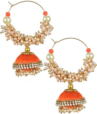 Blue,orange,white and pink silk thread bangles with jhumkas