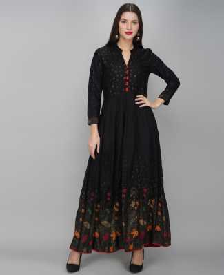 Designer Black Long Kurti Kurta For Women Indian Bridesmaid Dresses Elegant Flared Kurti with Handwork and Beautiful print with Pant