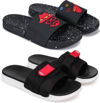 NEW Boys Flip Flops Size Large 2-3 Red Black Slides Sandals Summer Shoes