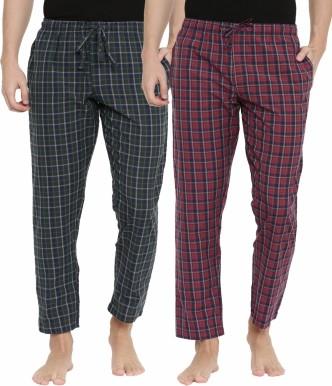 Mens Cotton Checked Pyjama Set Lounge Top Pants PJs Pajamas Nightwear Gift Warm