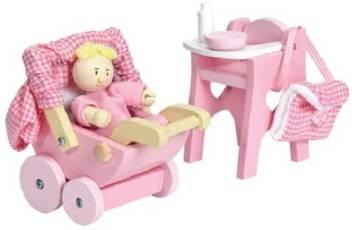 Wooden Nursery Set Dollhouse Furniture