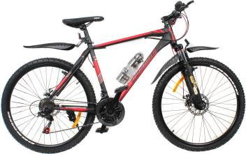 "Heracles 26/"" Mountain Bike MTB Bicycle 21 Speed Mudguards Water Bottle Black//Red"