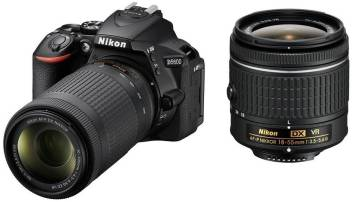 Nikon D5600 DSLR Camera Body with Dual Lens: AF-P DX Nikkor 18 - 55 MM  F/3 5-5 6G VR and 70-300 MM F/4 5-6 3G ED VR (16 GB SD Card)