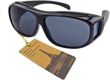 975d567a2d8a VibeX ® Utrax Clear View Vision UV Protection Wraparound Driving Glasses  Sunglasses Black Lens Fits Over