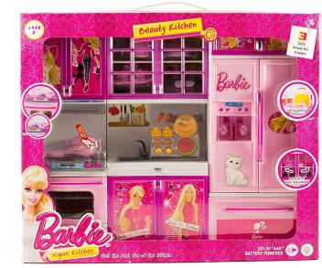 Techhark 3 Fold Master Chef Cooking Pink Barbie Light Music Battery Operated Kitchen Set Toy Play Set For Girls 3 Fold Master Chef Cooking Pink Barbie Light Music Battery Operated Kitchen