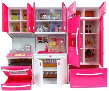 Kris toy Pink Stylish Modular Kitchen Set for Girls