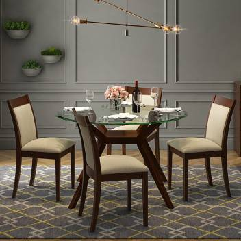 Urban Ladder Wesley Round Glass Top Glass 4 Seater Dining Table