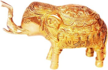 athizay Elephant Showpiece Brass Decorative Items 5 cm Tall Elephant Statue for Home Office Table Decor