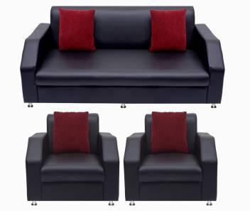 Awesome Bharat Lifestyle Italia Fabric 3 1 1 Black Sofa Set Machost Co Dining Chair Design Ideas Machostcouk