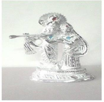Smart Skill White Metal Lord Radha Krishna Idol With Chakra