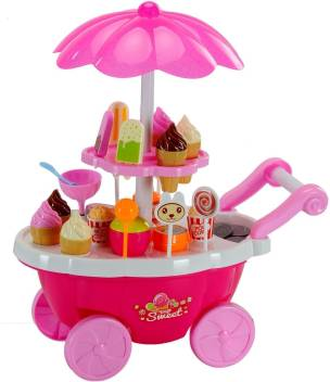 Techhark Ice Cream Kitchen Play Cart Kitchen Set Toy with Lights and Music,  Small sweet shop for kids - Ice Cream Kitchen Play Cart Kitchen Set Toy  with Lights and Music, Small