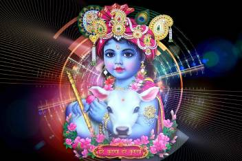 Cute Baby Krishna God With Cow Poster Paper Print 18 Inch X 12 Inch Rolled Paper Print Children Posters In India Buy Art Film Design Movie Music Nature And Educational