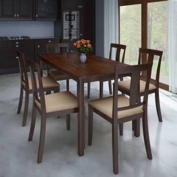 Flipkart Perfect Homes Fraser Rubber Wood 6 Seater Dining Set
