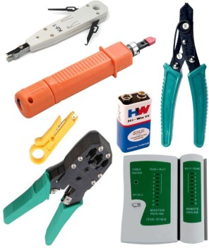 Pro Network Cable Installation Crimping Tool Kit RJ45 RJ11 Wire Stripper Tester