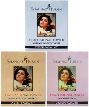 Shahnaz Husain Anti-Ageing,Pigmentation Control and Signature facial kit combo 48 g  (Set of 3)