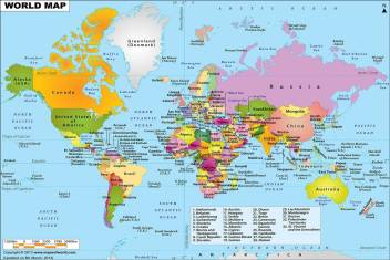 world political map HD PIXEL on quality paper 13x19 Paper Print