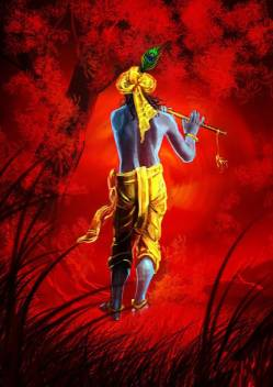 krishna digital painting HD Wallpaper on Art Paper Fine Art