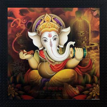Janki God Ganesh Ji Wall Hanging Canvas 14 Inch X 14 Inch Painting