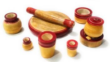 Crafts India Handcrafted Eco Friendly Wooden Toy Kitchen Set