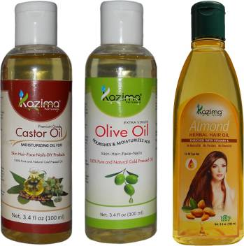 Kazima Combo Of Olive Oil Castor Oil And Almond Herbal Hair Oil Each 100ml Anti Hair Fall Control Hair Growth Hair Oil Price In India Buy Kazima Combo