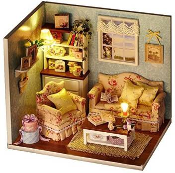 Saumota Wood Material Diy Miniature House Room Furniture Mini Dollhouse Models With Cover And Led Light Living Room Wood Material Diy Miniature House Room Furniture Mini Dollhouse Models With Cover And Led,Modern Luxury Simple Living Room Lighting Design
