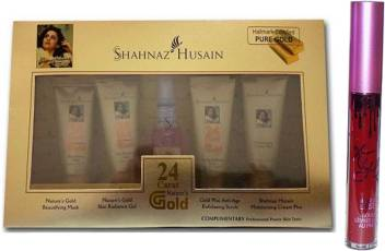Shahnaz Husain 24 Carat Gold Kit 40 g With Limited Edition Maroon Lip Gloss  (2 Items in the set)