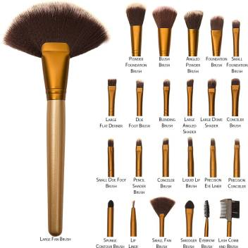 Zureni Makeup Brushes 24pcs Cosmetic Brush Set With Golden Leather Pouch For Eye Shadow Blush Concealer Price In India Buy Zureni Makeup Brushes 24pcs Cosmetic Brush Set With Golden Leather Pouch
