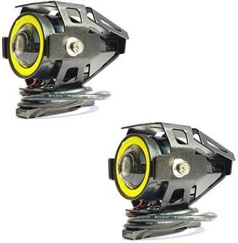 125W CREE LED U7 Motorcycle Headlight Fog Spot Driving Light Blue Angel Eye OV