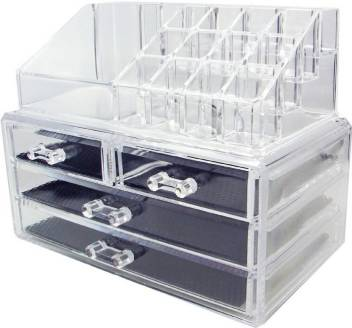 cosmetic jewellery makeup storage box kit with 3 drawers clear original imaf3jqnky9hrdeu