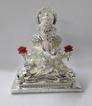 Chintamani Arts Silver Plated Dagadhusheth Idol Silver Plated