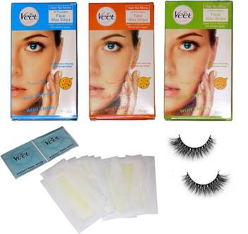 Professional Kit Eyelashes Veet Face Waxing Strips Set Of 3 Price In India Buy Professional Kit Eyelashes Veet Face Waxing Strips Set Of 3 Online At Flipkart Com